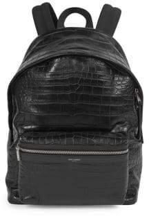 Saint Laurent Embossed Leather Backpack