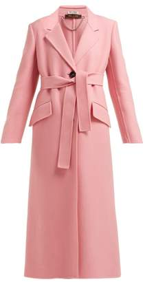 Miu Miu Tie Waist Single Breasted Wool Coat - Womens - Pink