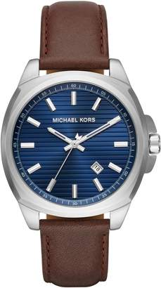 Michael Kors Bryson Leather Strap Watch, 42mm