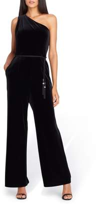 Tahari One-Shoulder Velvet Jumpsuit