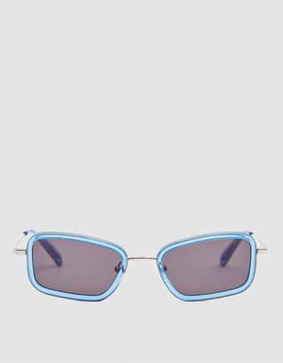 Sun Buddies River Rectangular Sunglasses in Silver / Blue Sky
