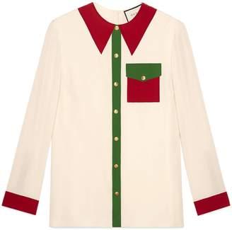 Gucci Trompe l'oeil silk satin shirt