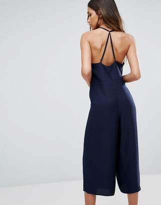 New Look Satin Strappy Culotte Jumpsuit