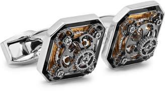 Tateossian Diabolo Ottagono Gear Rhodium-Plated And Enamel Cufflinks