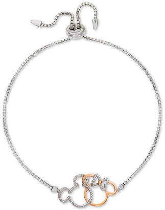 Disney Cubic Zirconia Minnie & Mickey Silhouette Bolo Bracelet in Sterling Silver & 18k Gold-Plate