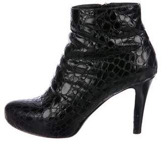 Baldan Embossed Leather Semi-Pointed Toe Ankle Boots