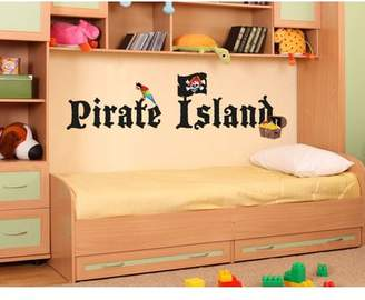 Mural Style and Apply Pirate Island Wall Decal - wall print decal, sticker, vinyl art home decor - DS 879 - 59in x 18in