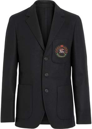 Burberry Slim Fit Embroidered Crest Wool Club Blazer