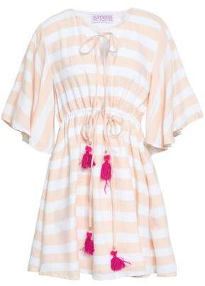 SUNDRESS Tasseled Striped Cotton Coverup