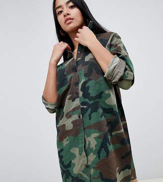 Missguided Petite Camo Shirt Dress