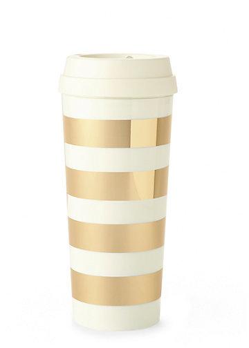Gold stripe thermal mug