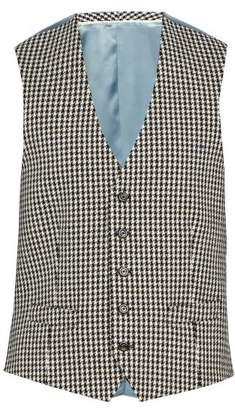 Gucci Houndstooth Wool Blend Waistocat - Mens - Black White