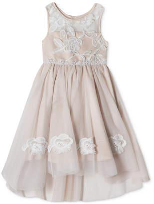Rare Editions Embroidered High-Low Hem Dress, Little Girls