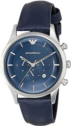 Emporio Armani Men's 'Lambda' Quartz Stainless Steel and Leather Casual Watch, Color: (Model: AR11018)