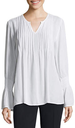 By Artisan Smocked Bell Sleeve Pleated Blouse