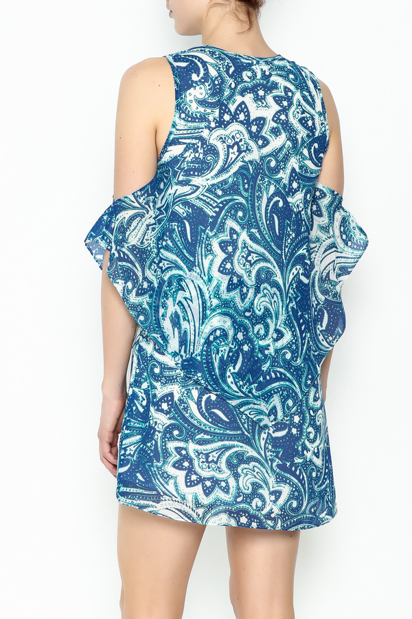 Olivaceous Blue Printed Dress