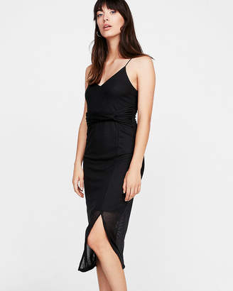 Express Petite Twist Front Sheer Rib Sheath Dress