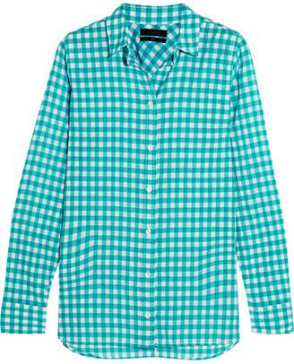 J.Crew - Gingham Crinkled Cotton-blend Poplin Shirt - Teal $70 thestylecure.com