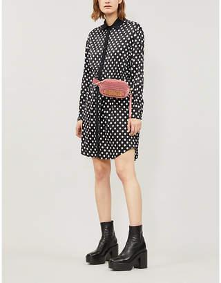 Moschino Polka-dot print waist-tie satin shirt dress