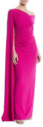 Talbot Runhof Rosedale One-Shoulder Draped Evening Gown w/ Draped Sleeve
