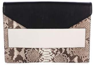Narciso Rodriguez Leather & Snakeskin Envelope Clutch
