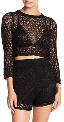 EMORY PARK Pointelle Knit Crop Top