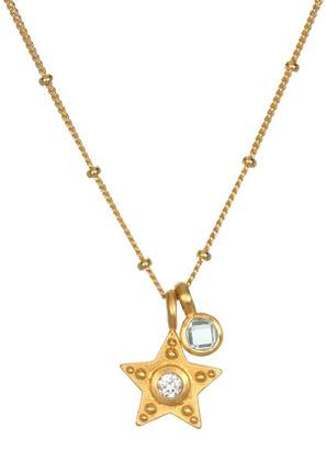 Satya Topaz Star Necklace, Goldtone Brass