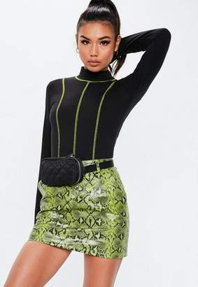 Missguided Black Contrast Stitch Bodysuit