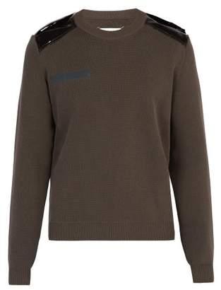 Maison Margiela Pvc Patch Cotton Sweater - Mens - Dark Grey