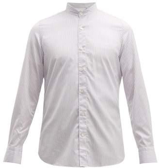 Finamore 1925 - Gaeta Striped Cotton Chambray Shirt - Mens - Purple White