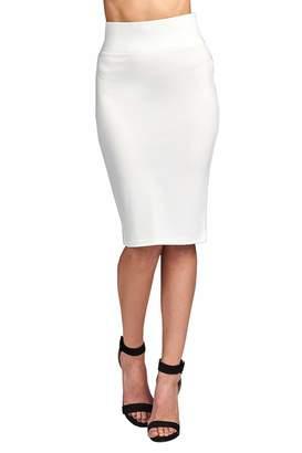 ClothingAve. Women's High Waist Simple & Elegant Knee Length Fitted Ponte Skirt
