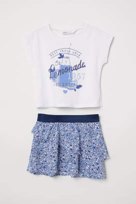H&M Top and Skirt - White