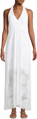 Letarte Palm Lace Halter Coverup Maxi Dress