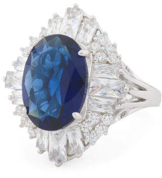Sterling Silver Tanzanite And Cz Ring