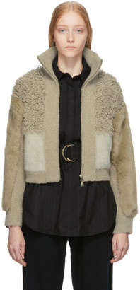 Stella McCartney Beige Faux-Fur Jacket