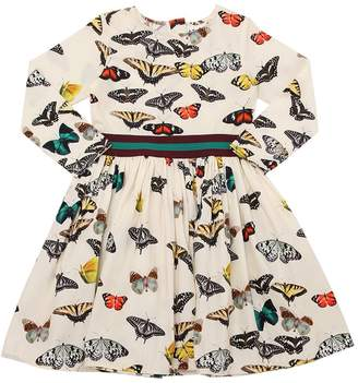 Molo Butterflies Print Cotton Poplin Dress