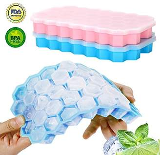 YORLFE Ice Cube Trays-2 Pack Food Grade Silicone Rubber Flexible and BPA Free 74 Cubes Ice Trays with Lid Stackable Easy Release Mini Cocktail Whiskey Ice Cube Mold Storage Containers-Pink&Blue