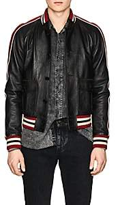 Saint Laurent Men's Washed Leather Varsity Jacket - Black