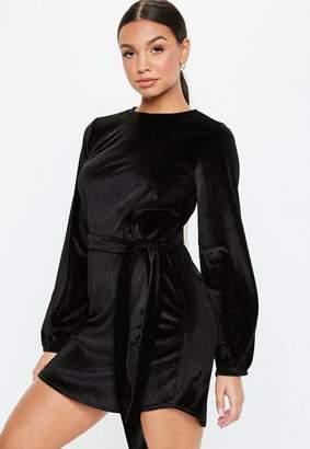 Missguided Black Velvet Tie Waist Shift Dress