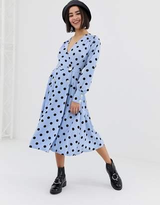 Monki v-neck midi dress with button details and polka dot print