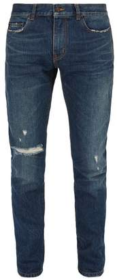 Saint Laurent Distressed Skinny Fit Jeans - Mens - Indigo
