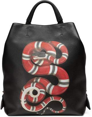 Gucci Kingsnake print leather backpack