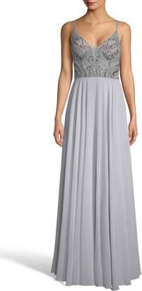 Xscape Evenings Embellished Illusion Bodice V-Neck Chiffon Evening Dress