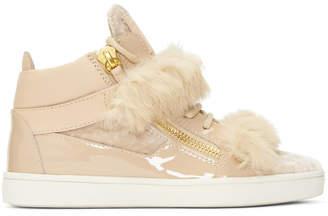 Giuseppe Zanotti Pink Patent and Velvet Brek Mid-Top Sneakers