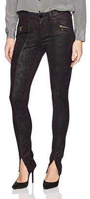 William Rast Women's Sexy Back Moto Skinny Jean with Front Hem Slit