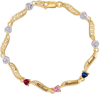 JCPenney FINE JEWELRY Personalized 14K Yellow Gold Family Birthstone Heart Bracelet