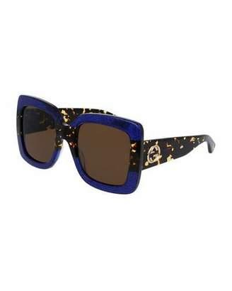 Gucci Glittered Gradient Oversized Square Sunglasses, Blue/Tortoise
