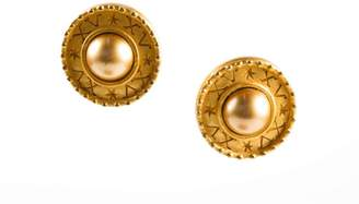 Carolee Gold Tone Center Ball Etched Textured Trim Circlular Clip On Earrings