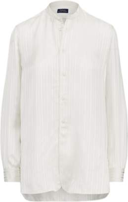 Ralph Lauren Striped Silk Band-Collar Shirt