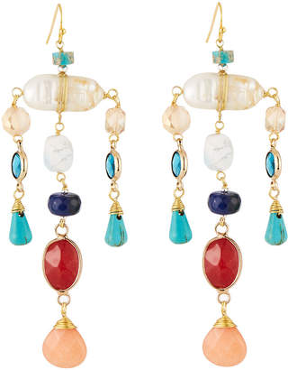 Nakamol Multicolor Pearl & Crystal Dangle Earrings